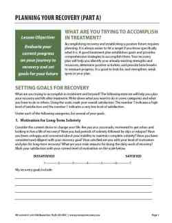 Planning Your Recovery – Part A (COD)