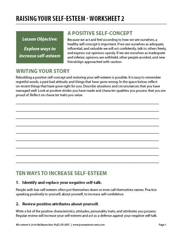 Raising Your Self-Esteem - Worksheet 2 (COD) | Journey to ...