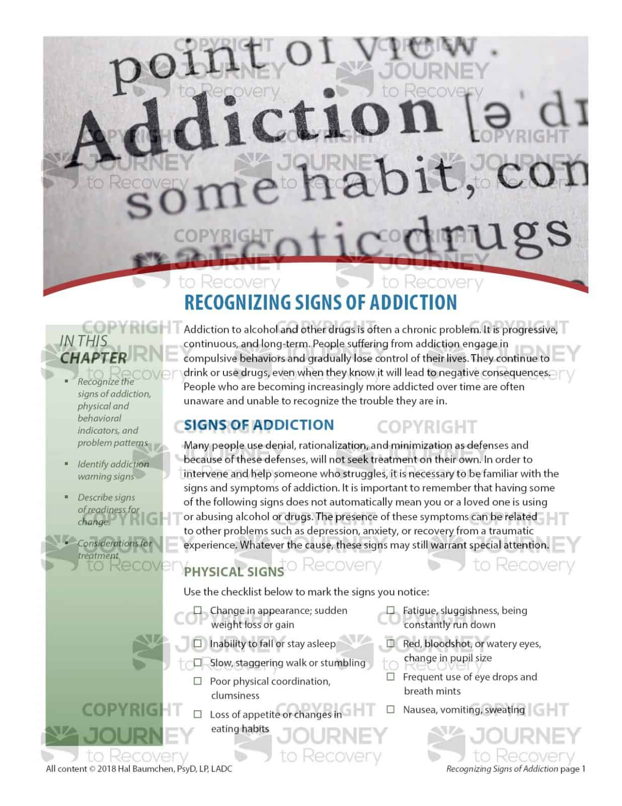 Recognizing Signs Of Addiction Cod Lesson