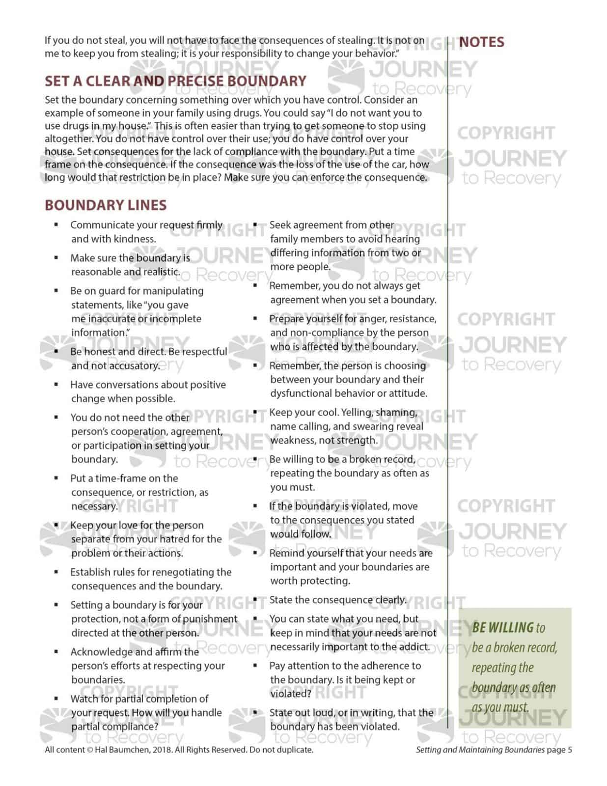 Setting And Maintaining Boundaries Mh Lesson