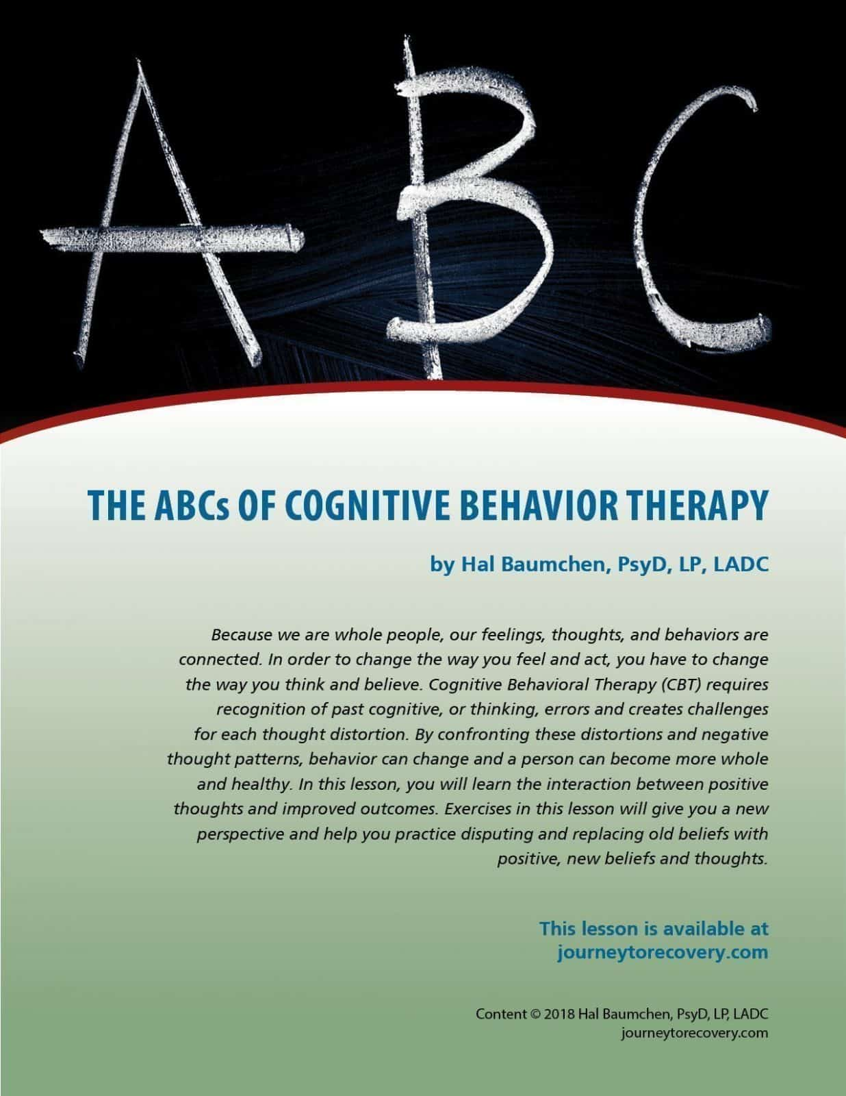 The Abcs Of Cognitive Behavioral Therapy Cod Lesson