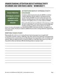 Understanding Attention Deficit Hyperactivity Disorder and Substance Abuse - Worksheet 1 (COD)