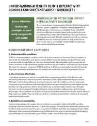 Understanding Attention Deficit Hyperactivity Disorder and Substance Abuse - Worksheet 2 (COD)