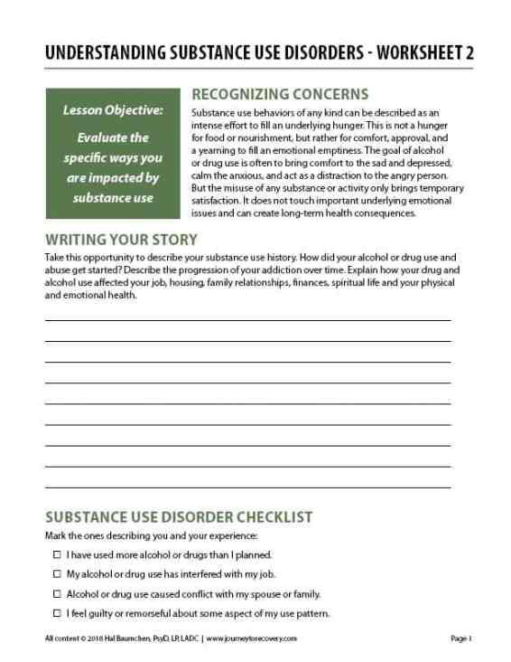 Understanding Substance Use Disorders Worksheet 2 Cod Journey