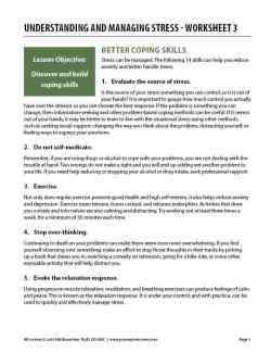 Understanding and Managing Stress – Worksheet 3 (COD)