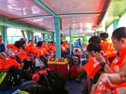 The passengers in their life vests