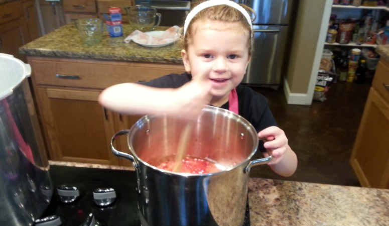 Strawberry Jam with My Little Helper (& a lesson from the flopped first try)