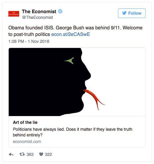 The Economist'in post-truth tweet'i.