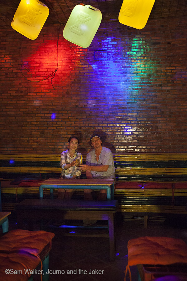 Having a drink at Peace and Love bar, Siem Reap