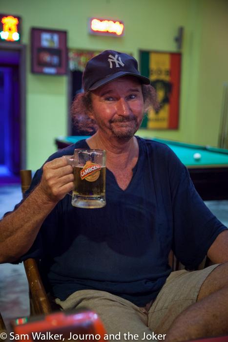 Having a beer