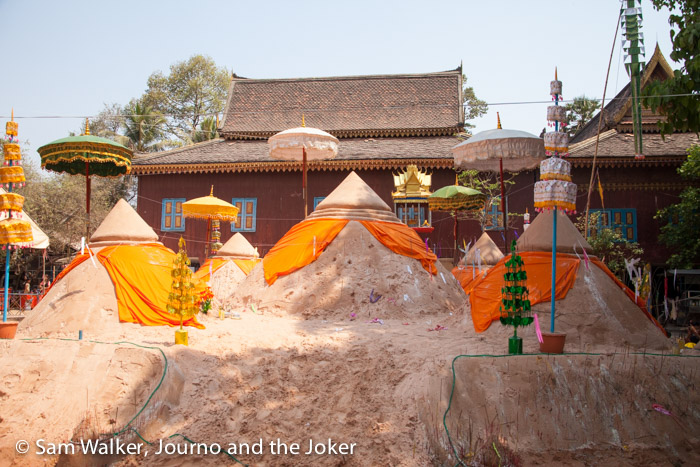Sand mountains at Wat Atvea for Khmer New Year celebrations