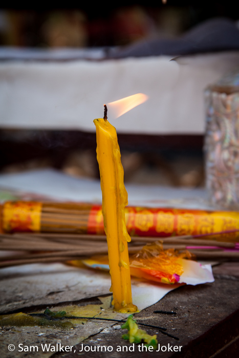 Candle burning for Khmer New Year