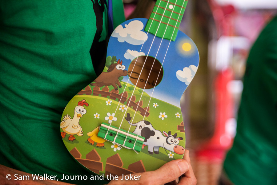 Ukulele painted with farm animals is used in Maggie and Rollo's singing classes