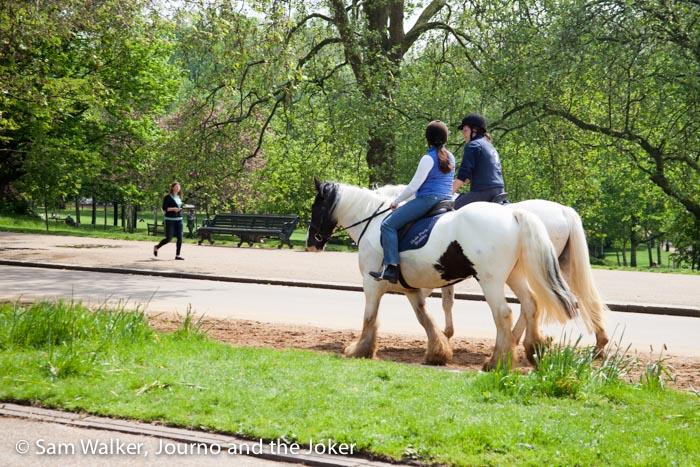 Riding horses through Hyde Park