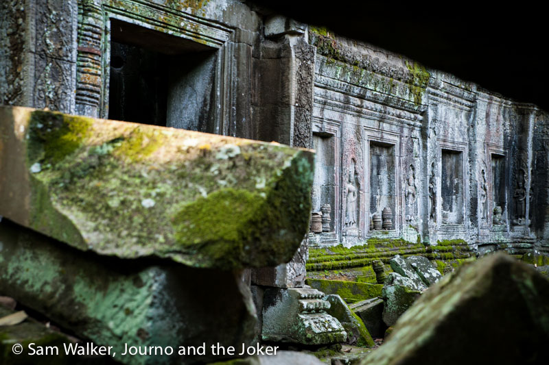 Carvings at Ta Prohm temple, Cambodia