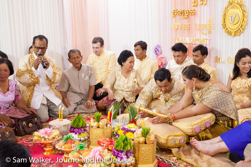 Candle ceremony at a Cambodian wedding