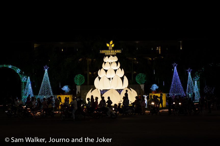 Christmas lights in Siem Reap, Cambodia