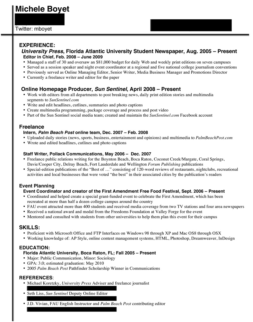 resume examples for journalists abca