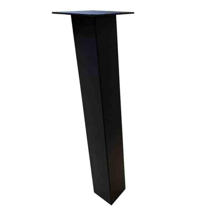 set 4 zwarte schuine tafelpoten 72 cm profiel 10 x 10