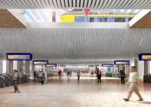 Groningen Spoorzone - Impressie van hoe de voetgangerstunnel op het Hoofdstation er mogelijk uit komt te zien, kijkend richting de zuidentree