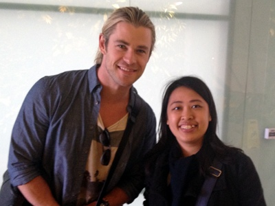 with Chris Hemsworth (look at my stunned face. lol.)