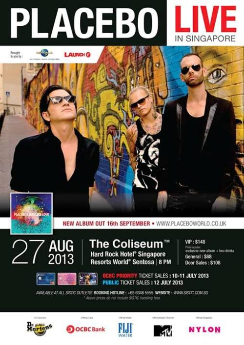 Placebo Singapore 2013 concert poster