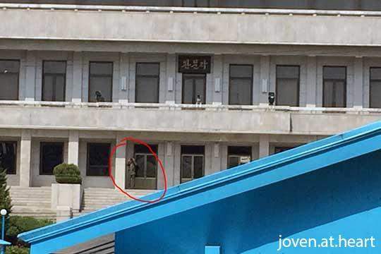 North Korean soldier observing us