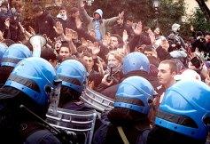 Estudiantes en las protestas de Londres