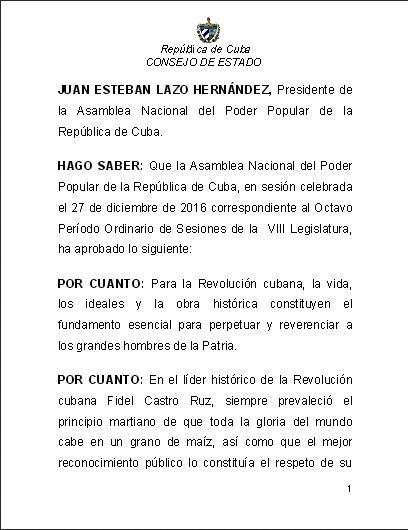 Ley Sobre el uso del nombre y la figura del Comandante en Jefe Fidel Castro Ruz. Foto: Ecured