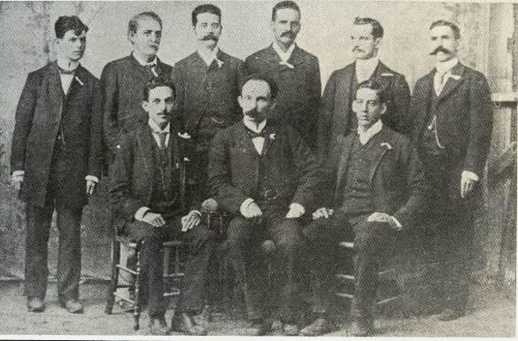 José Martí junto a un grupo de presidente de Clubes revolucionarios en Cayo Hueso, 1892