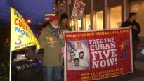 Autor: Comité de Vancouver por la Libertad de los 5, Canadá (@Freethe5_Van): @nino_cuba speaking @Freethe5_Van monthly protest to #FreeTheCuban5