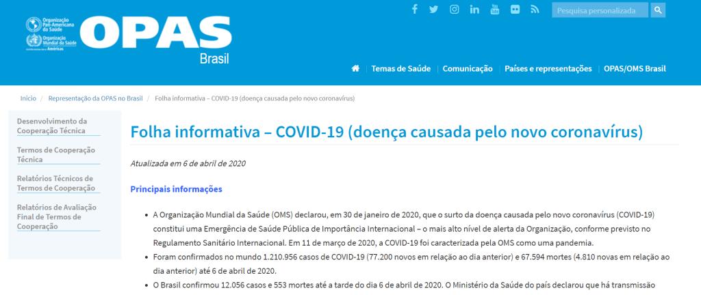 quais são os sites oficiais confiáveis coronavírus