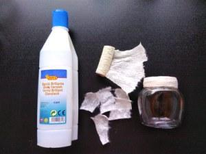 Lasipurkkisydämen tykötarpeet: Jovi akryylimassa, pehmeää paperia