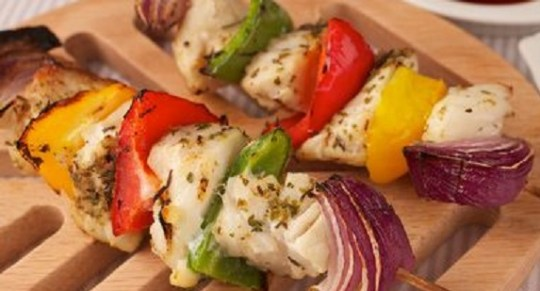 Lemon & herb fish kebabs.