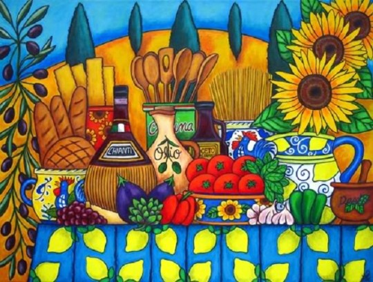 """""""Tuscany Delights"""" painting by Lisa Lorenz."""