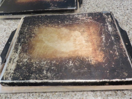 Forgive the view but my pans are very old and have seen a lot of baking.