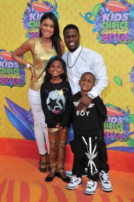 Kevin Hart with Eniko Parrish & their children