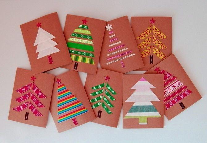 کارت پستال های سال نو را با دستان خود ایجاد کنید: کارگاه های ساده 7