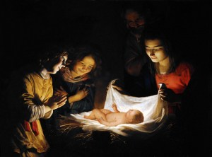 Adoration of the child by Honthorst (Restored Traditions)