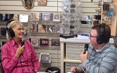 Dave Palmer, GRN radio, interviews Nancy Ward at Sacred Heart Books, Dallas, on ways to share your faith in the Year of Mercy (Photo by PhIl Ward)