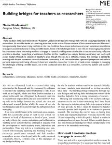 Screenshot of a paper about building bridges for teachers as researchers