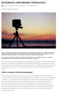 Screenshot of an article - Evidence-informed pedagogy