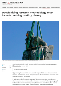 Screenshot of article about decolonising research methodology