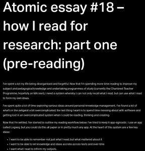 Screenshot of article on 'how I read for research'
