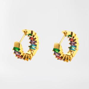 Pendientes rainbow circonitas (baño de oro)