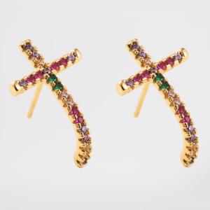 Pendientes cruz con circonitas (baño de oro)