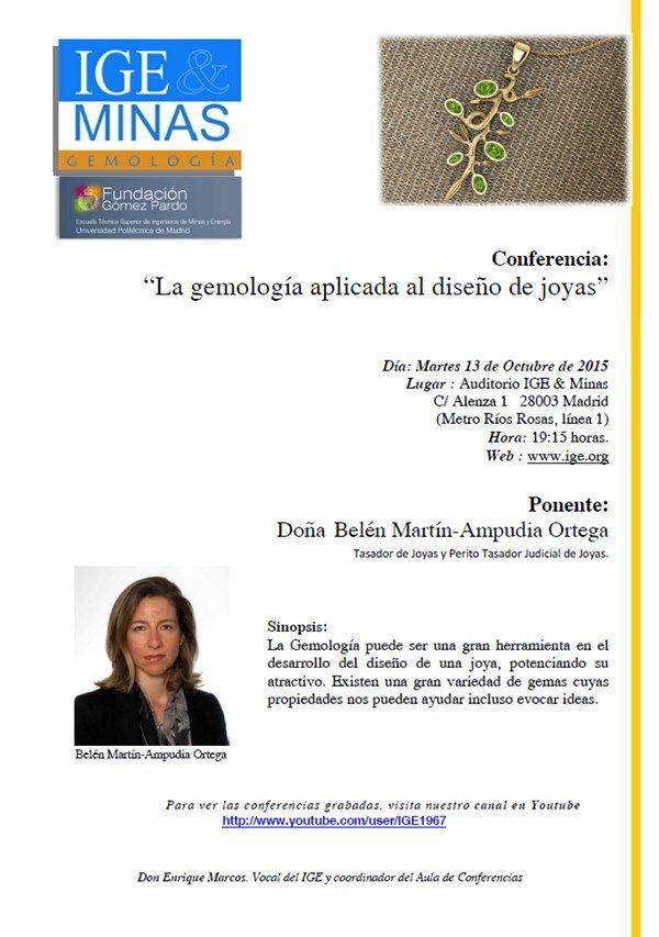 """Cartel conferencia - """"Gemologia aplicada al diseño de joyas"""" por Belen Martin en el IGE el 13 de octubre de 2015."""
