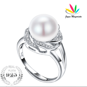 Anillo Plata 925 con Perla Natural, Talla Ajustable