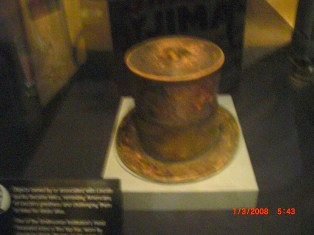 The discolored top hat Abraham Lincoln was wearing when he was asassinated.