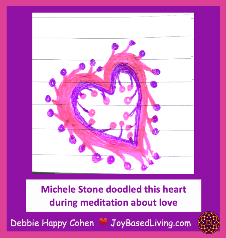 Michele pink and purple heart meditation about love with JBL logo